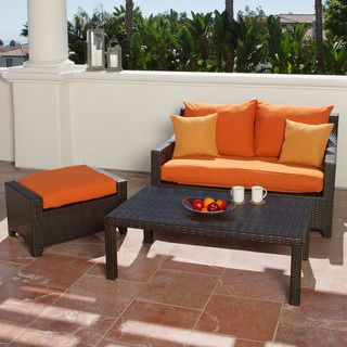 RST Outdoor Tikka Patio Love Seat and Ottoman Set