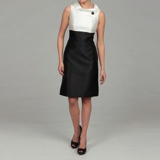 Tahari Womens Ivory/ Black Colorblock Dress