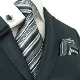 Landisun 84C Black Stripes Mens Silk Tie Set Tie+Hanky
