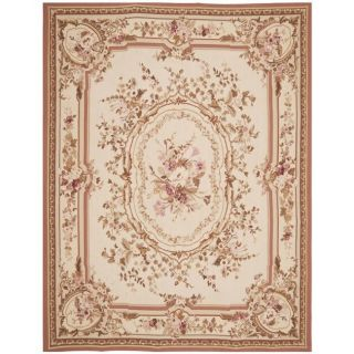 knotted French Aubusson Ivory Wool Rug (12 x 18)