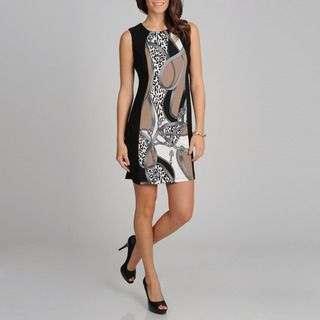Richards Womens Black and Taupe Panel Print Sleeveless Dress