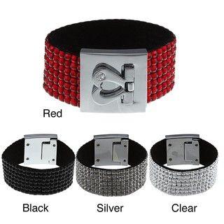 Silvertone Crystal 7 row Leather Heart Clasp Bracelet