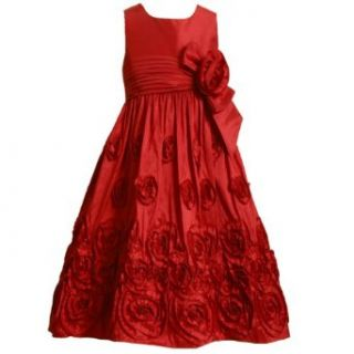 Bonnie Jean Girls 7 16 RED SHANTUNG ROSETTE BORDER Special