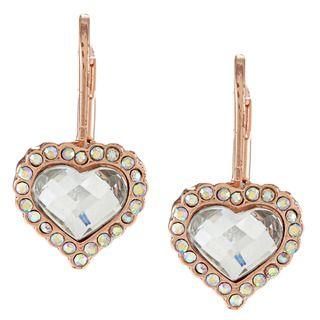 Betsey Johnson Crystal Heart Drop Earrings