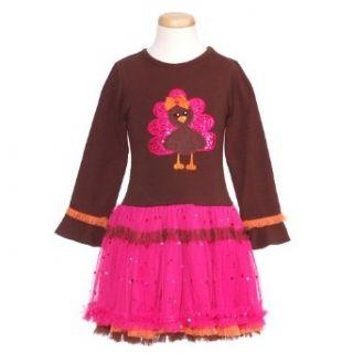 Rare Editions Little Girls Brown Pink Thanksgiving Turkey