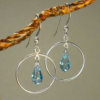 Jewelry by Dawn Hoops With Aquamarine Crystals Sterling Silver