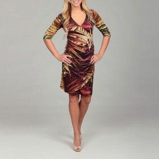 Argenti Womens 3/4 sleeve BrownTropical Cheetah Print Faux Wrap Dress