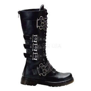 Knee Combat Boot W/Brass Knuckles Chain Black Faux Leather Shoes