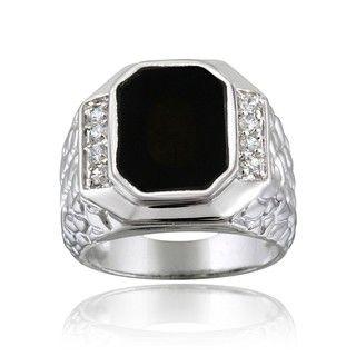 Icz Stonez Sterling Silver Mens Onyx CZ Ring