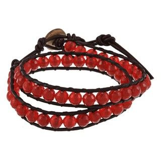 La Preciosa Red Agate Bead Leather Wrap Bracelet