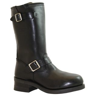 AdTec Mens Black Leather Engineer Boots