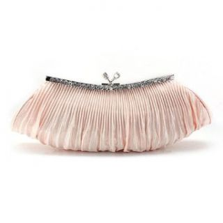 Falcate Shape Pleated Satin Clutch   Champagne Clothing
