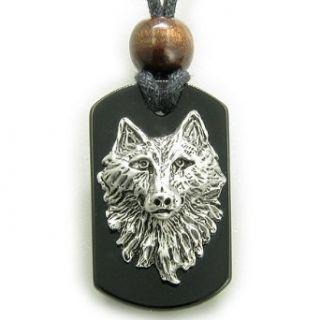 Wise Wolf Head Black Onyx Spiritual Protection Magic Tag
