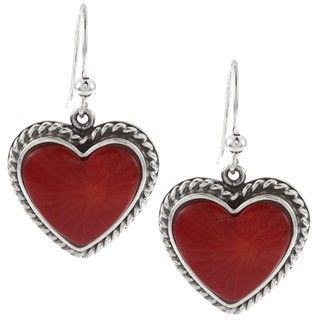 Southwest Moon Sterling Silver Red Coral Heart Earrings