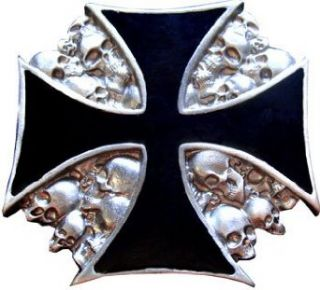 Mens IRON CROSS OVER SKULLS Punk Rock Metal Belt Buckle