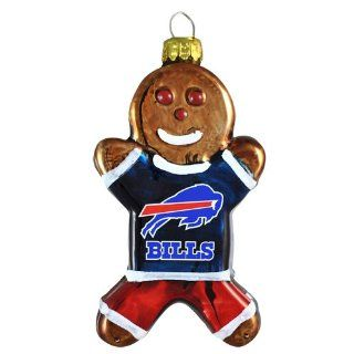 NFL Buffalo Bills Blown Glass Gingerbread Man Ornament