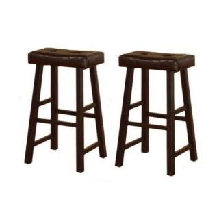 29 inch Cherry Brown Leather Saddle Bar Stools (Set of 2)
