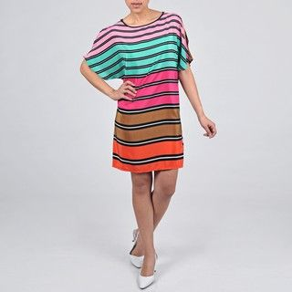 Tiana B. Womens Striped Cold Shoulder Dress