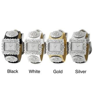 Geneva Platinum Womens Rhinestone accented Fleur de Lys Buckle Watch