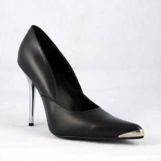 inch Spikes Chrome Metal Heel Shoes Black Faux Leather Shoes