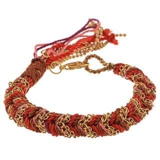 Helene Gold Overlay and Red plated Braided Friendship Bracelet