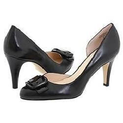 AK Anne Klein Bridget Black Leather Pumps/Heels
