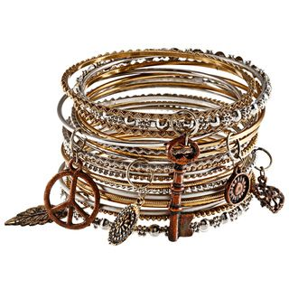 20 piece Mixed Metal Bangles with Charms (India)