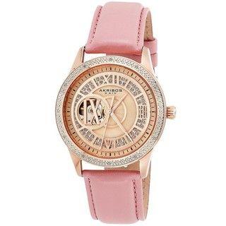Akribos XXIV Womens Open Heart Diamond Automatic Watch