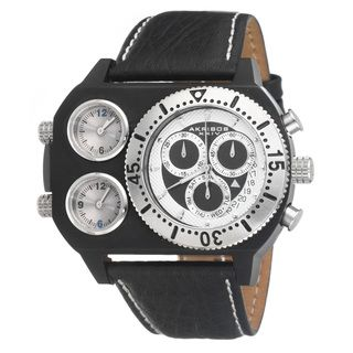 Akribos XXIV Mens Time Machine Triple Time Zone Chronograph Watch