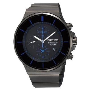 Seiko Mens Chronograph Black Ion Blue Accent Watch