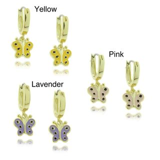 Molly and Emma 18k Gold Overlay Childrens Dangling Enamel Butterfly