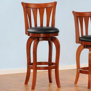 Style Red Oak Slat back Swivel 29 inches Pub Chair