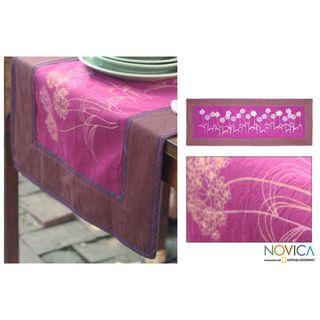 Cotton Purple Dandelions Table Runner (Thailand)