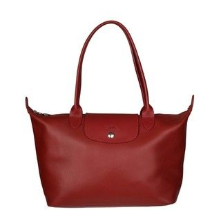 Longchamp Veau Foulonne Red Leather Tote Bag