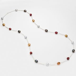 Pearlyta Silver Multi colored FW Baroque Pearl Necklace (9 10 mm