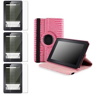 BasAcc Pink Leather Case/ Screen Protector for  Kindle Fire