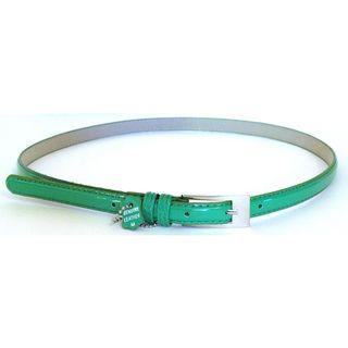 Womens Green Patent Leather Skinny Belt