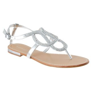 Riverberry Womens Bloom 88 Silver Rhinestone Sandals