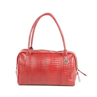Claudia G. Croc embossed Red Leather Bowler Bag