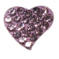Sterling Silver Light Purple Crystal Heart Earrings