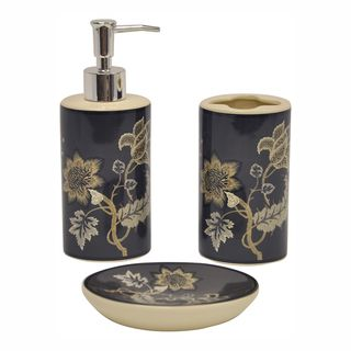 Fall leaves bathroom accessories set soap dish lotion pump for Charcoal bathroom accessories
