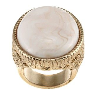 Goldtone Created Moonstone Oval Fashion Ring