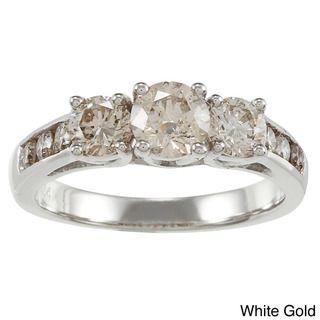 14k Gold 1 1/2ct TDW Round Diamond 3 stone Engagement Ring (K, I1 I2