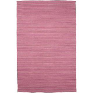 Flat Weave Pink Wool Rug (5 x 8)