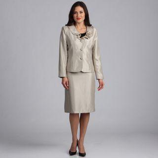 Danillo Womens Champagne Ruffle Collar Skirt Suit