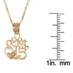Yellow Gold over Sterling Silver Sweet 15 Necklace