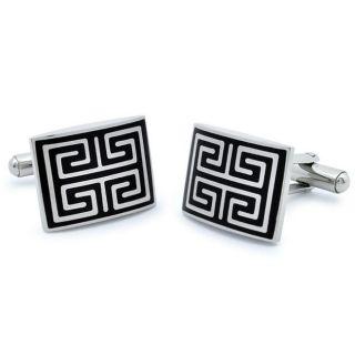 Stainless Steel Black Inlay Greek Key Maze Cuff Links