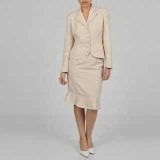 Rose Womens Plus Size Two piece White Jacquard Skirt Suit