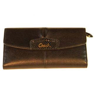 Coach Ashley Brown Leather Checkbook Wallet