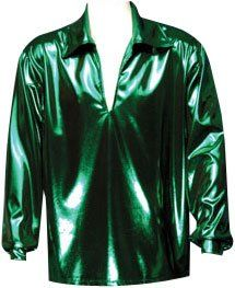 Mens XXL Green Disco Shirt Costume Clothing